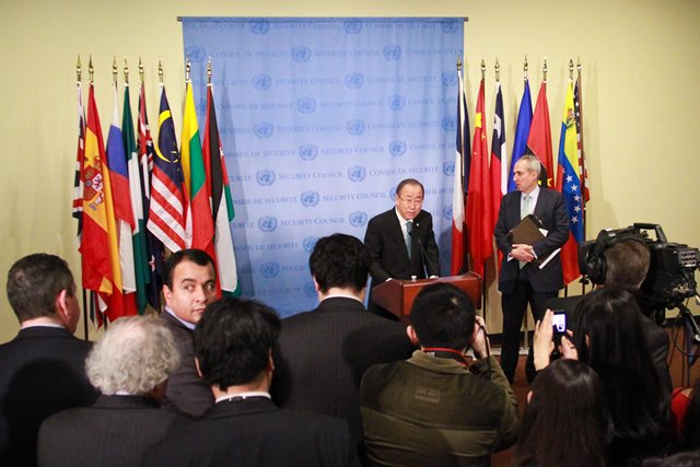 """UN Secretary-General Ban Ki-moon addresses the media at the UN headquarters in New York on April 9, 2015. As violence continues to roil in Syria and Yemen, UN Secretary-General Ban Ki-moon on Thursday urged religious leaders and educators to preach to their followers the """"correct meaning of tolerance; the correct meaning of culture and tradition, with mutual respect."""" (Xinhua/Niu Xiaolei)"""