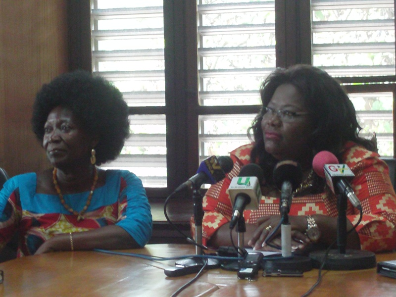 Nana Oye Lithur, Minister of Gender, Children and Social Protection (seated right). Beside her is Mrs Dela Sowah, Deputy Minister at the Ministry