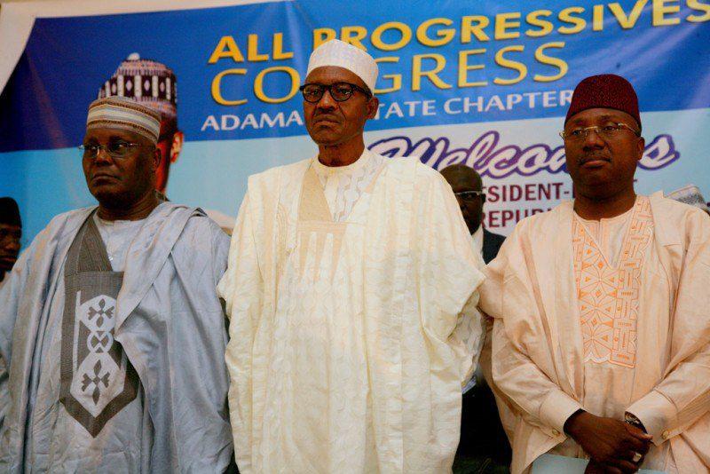 Mohammed Umaru Jibrilla Bindow with President Buhari and former VP Atiku
