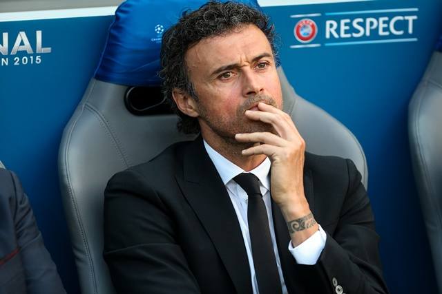 Head coach Luis Enrique of FC Barcelona reacts prior to the UEFA Champions League final match between Juventus F.C. and FC Barcelona in Berlin, Germany, on June 6, 2015. (Xinhua/Zhang Fan)