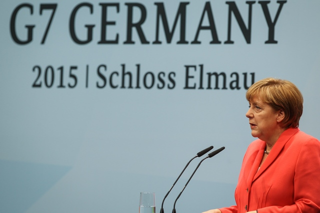 German Chancellor Angela Merkel speaks during a news conference during the G7 summit at the Elmau Castle near Garmisch-Partenkirchen, southern Germany, on June 8, 2015. Germany hosted a G7 summit here on June 7 and June 8. (Xinhua/Zhang Fan) (dzl)