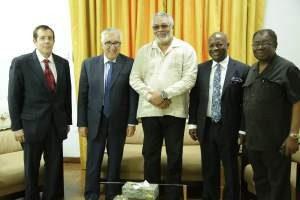 President Rawlings flanked by Ambassador Cretz, Nana Fredua Manuh, Robert Carlson and Ambassador-Gbeho