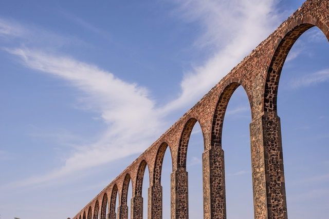The Padre Tembleque aqueduct, located between the Mexican states of Mexico and Hidalgo, in this June 10, 2012 file photo. The Padre Tembleque Aqueduct was declared as a UNESCO World Heritage site on Sunday, July 5, 2015. (Xinhua/INAH/NOTIMEX)