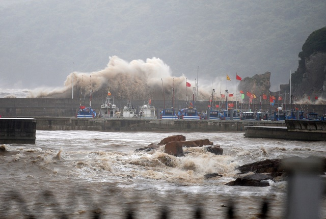 Photo taken on July 10, 2015 shows huge waves at a dock in Zhoushan City of east China's Zhejiang Province. Typhoon Chan-Hom is expected to land somewhere between Sanmen and Zhoushan in east China's Zhejiang Province on Saturday afternoon, the National Meteorological Center (NMC) forecast.  (Xinhua/Wu Linhong) (zwx)