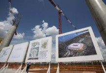 Photo taken on July 14, 2015 shows the construction site of the Rostov Arena in Rostov-on-don, Russia. Russia will host the FIFA World Cup soccer tournament in 2018. (Xinhua/Li Ming)