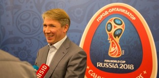 Photo taken on July 20, 2015 shows Alexey Sorokin, CEO of the 2018 FIFA World Cup Russia Local Organising Committee, gets interviewd in Saint Petersburg, Russia. Russia will host the FIFA World Cup soccer tournament in 2018. (Xinhua/Li Ming)