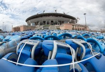 Photo taken on July 20, 2015 shows the construction site of the stadium for the 2018 World Cup at the Krestovsky Island in Saint Petersburg, Russia. Russia will host the FIFA World Cup soccer tournament in 2018. (Xinhua/Li Ming)