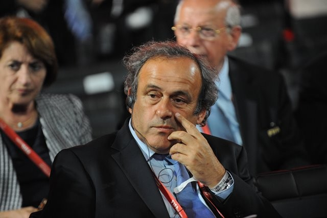 UEFA President Michel Platini attends the preliminary draw for the 2018 FIFA World Cup at Konstantin Palace in St. Petersburg, Russia July 25, 2015. (Xinhua/Dai Tianfang)