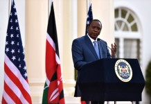 Kenyan President Uhuru Kenyatta speaks during a joint press conference with visiting U.S. President Barack Obama in Nairobi, Kenya, July 25, 2015. Kenya and the U.S. on Saturday reaffirmed their commitment on security cooperation and in the war against terrorism to help prevent future terror attacks in the East African nation. (Xinhua/Sun Ruibo)