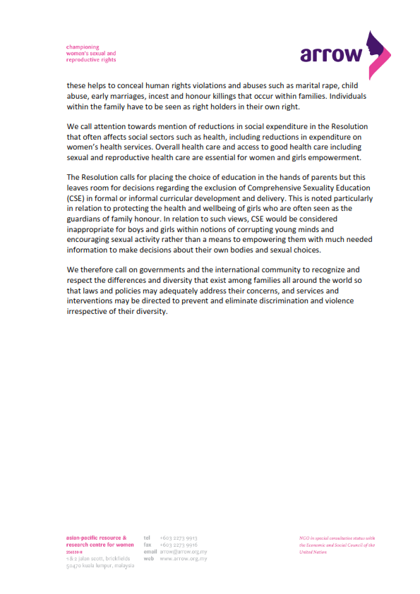 ARROW Statement on Resolution on the Protection of the Family at HRC_003