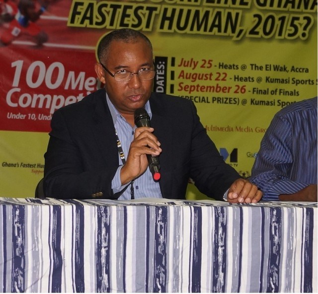 GNPC CHIEF EXECUTIVE, ALEX MOULD SPEAKING AT THE LAUNCH OF GH FASTEST HUMAN U18