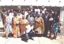 A group photograph of the newly appointed National Executive Committee Members with the traditional rulers and the National Secretariat. (Hon. Peter Nanfuri- middle in smock)