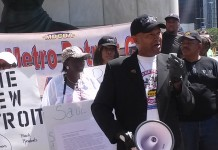 Kenneth Kabaka Reynolds President of the Metro Detroit Cab Drivers Association at rally on July 21, 2015.