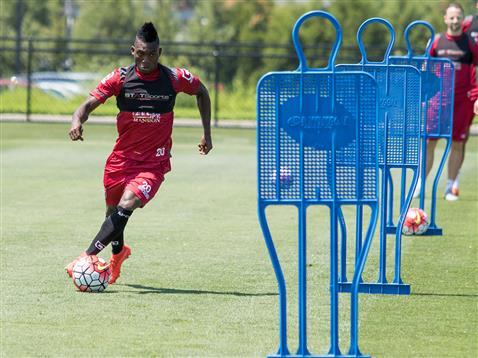 Christian Atsu in training with Bournemouth.
