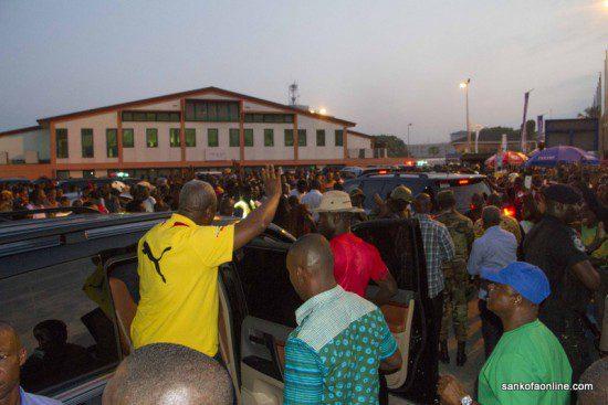 President John Mahama leaving the the stadium