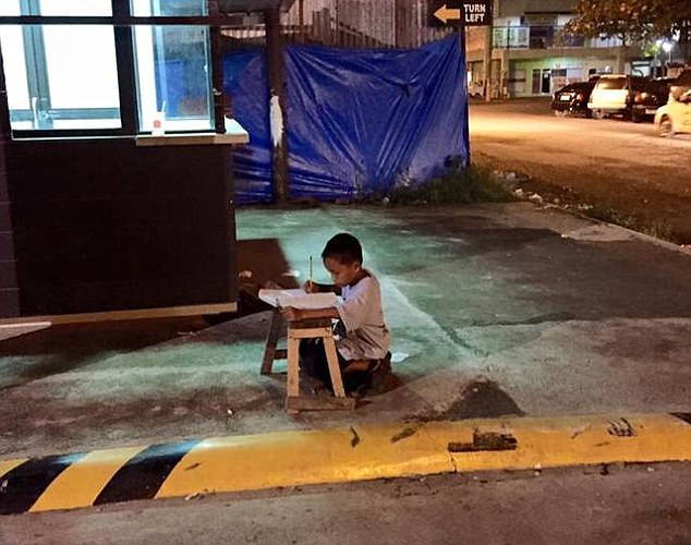 A lighting light: The young boy has been identified as nine-year-old Daniel Cabrera, a student in Mandaue city
