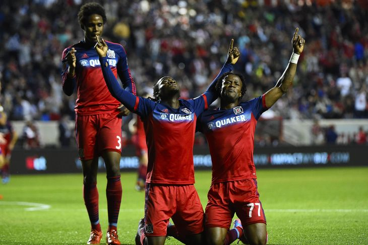 David Accam celebrating a goal with his Fire team-mates