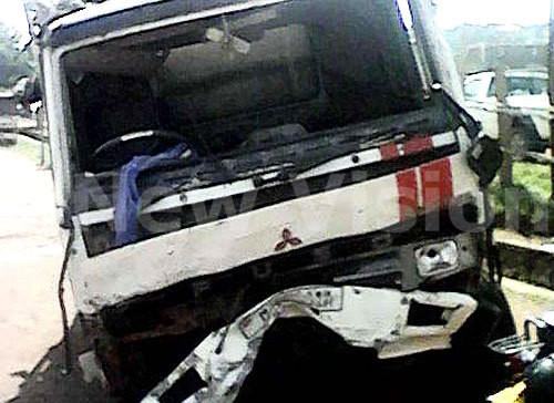 A Fuso truck, registration number UAN 811A at Nateete police station that crashed four people along Kampala ? Masaka highway on July 27, 2015. Photo by Lawrence Mulondo.