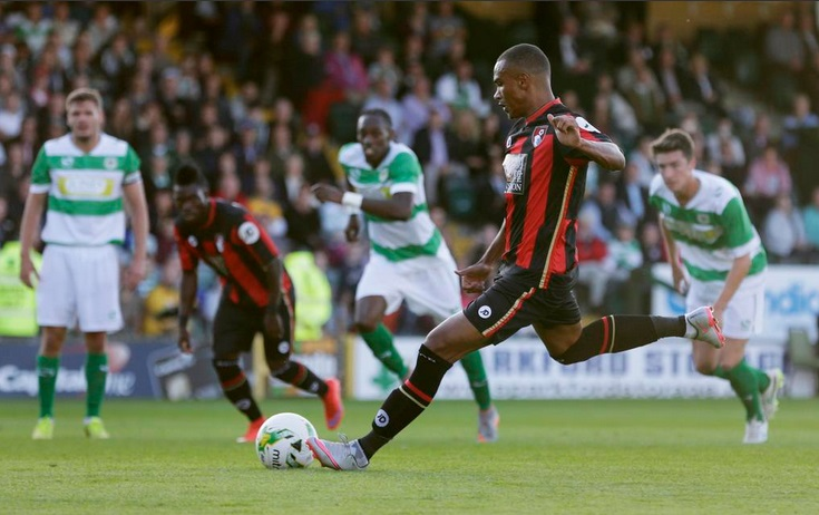 Ghana star Atsu watches on as team-mate Stanislas converts from the spot
