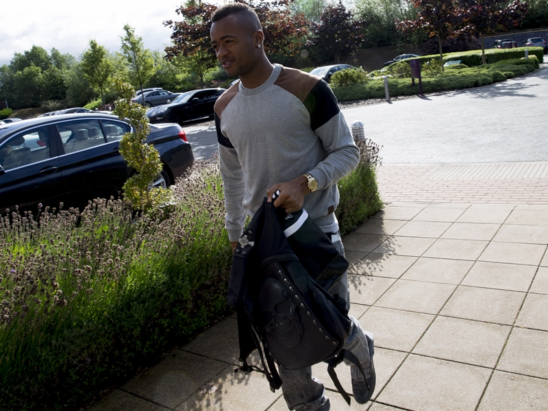 Images as Jordan Ayew enjoys his first day as a Villa player at Bodymoor Heath training complex. Pictures by Neville Williams/Aston Villa/Getty Images.