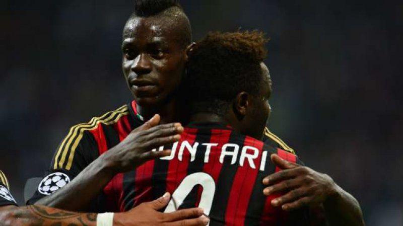 Former AC Milan team mates Sulley Muntari and Mario Balotelli