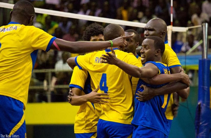 The National Volleyball team celebrate after winning the Zone 5 early this year at Amahoro indoor stadium. (File)