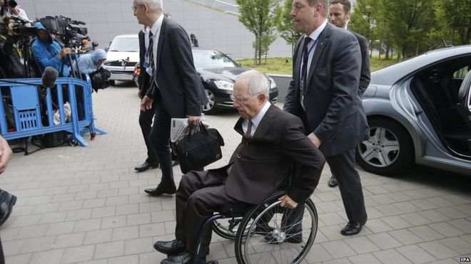 German Finance Minister Wolfgang Schaeuble, one of the biggest sceptics for a deal, arrives for talks