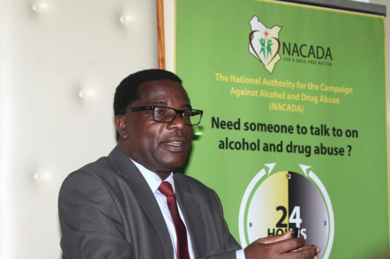 The National Authority for the campaign Against Alcohol and drug abuse (NACADA) CEO Dr. William N. Okedi addressing press in Nairobi. PHOTO: ANDREW KILONZI