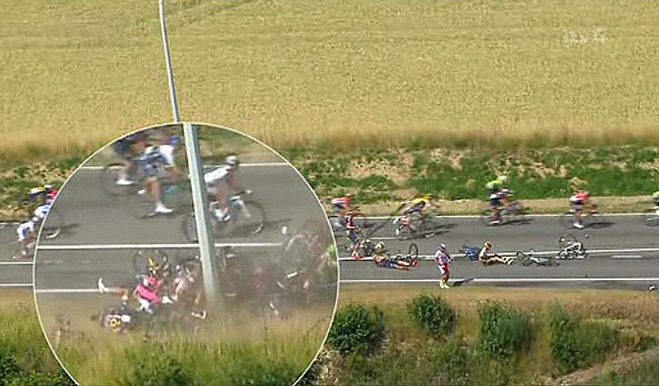 The riders behind have nowhere to go and crash into the fallen cyclist at speeds of up to 50kmph before hitting the tarmac