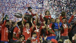 Chile celebrate their title success on Saturday