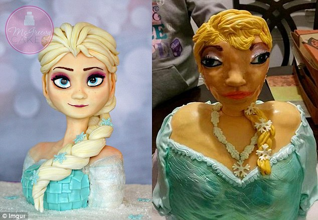 Spot the difference: A little girl's family ordered a cake of Queen Elsa (left) and were surprised with what arrived (right)