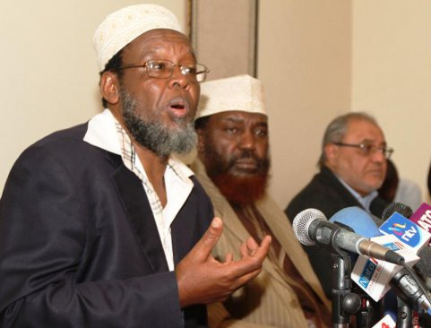 From left to right Al Amin Kimathi (Executive Director Muslim Human Rights Forum) and Al Haji Yusuf Murigu (Vice Chair National Muslims leaders forum) among other leaders on 30th July 2015 at the Jamia Mosque. Photo by: Mbugua Kibera