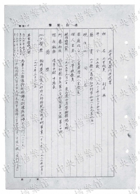 """Photo released on Aug. 15, 2015 by the State Archives Administration of China on its website shows a Chinese version of an excerpt from Japanese war criminal Narumi Mitsui's handwritten confession. The fifth in a series of 31 handwritten confessions from Japanese war criminals published online, Narumi Mitsui, born in Japan in 1920, joined the war against China in 1941.      In the 1954 confession Narumi Mitsui detailed how he slaughtered and raped prisoners and civilians, killing seven captives in Hubei Province in January 1943, beheading at least one of them.      He raped a woman four times a month later. In March, he broke into a civilian house, threatened a 16-year-old woman with a pistol, raped her, then invited his compatriot to rape her too.      Narumi Mitsui raped Chinese and Korean women in """"comfort stations"""" over 60 times in various parts of China between May 1942 and July 1945. (Xinhua) (dhf)"""