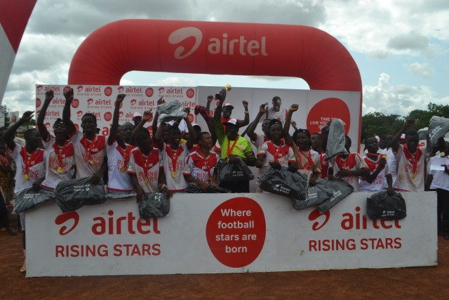 Champions of Zone 4, Northern Region Team A celebrating their qualification to the finals of the Airtel Rising Stars Competition in Sunyani