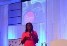 LUCY QUIST, MANAGING DIRECTOR OF AIRTEL GHANA ADDRESSING THE AUDIENCE