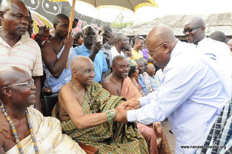 Paramount Chief of the Ngleshie Alata Traditional Area, Oblempong Nii Kojo Ababio V exchanging pleasantries with  Nana Akufo-Addo