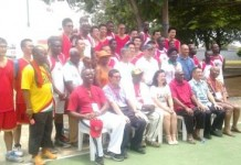 Chinese Ambassador, Mrs Sun Baohong, and basketball players