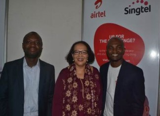 JEAN CLAUDE, DIRECTOR OF DATA AT AIRTEL GHANA; DR DOROTHY GORDON, DIRECTOR GENERAL OF KOFI ANNAN CENTER OF EXCELLENCE IN ICT; LOUIS MANU, NEW PRODUCT DEVELOPMENT MANAGER AT AIRTEL GHANA.
