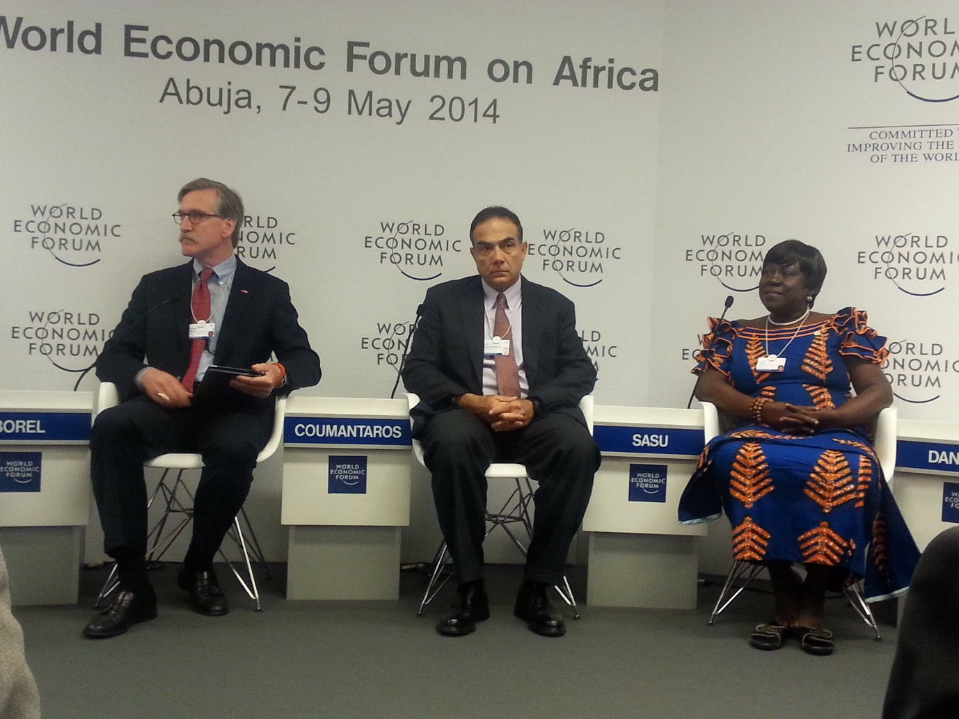 Lydia Sasu sitting at the extreme right as a panellist during the World Economic Forum on Africa