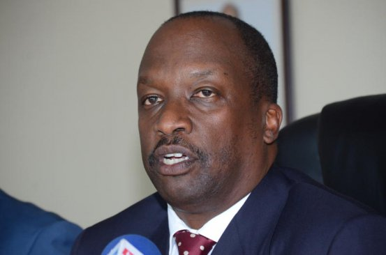 Kenya National Chamber of Commerce and Industry chairman Kiprono Kittony addressing members of the press on the ongoing sugar debate in their Nairobi office. (PHOTO: FIDELIS KABUNYI/ STANDARD)