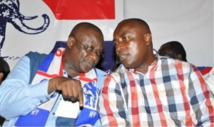 Some executives have been on collision course with NPP's Chairman Paul Afoko (L) and General Secretary Kwabena Agyepong (R)