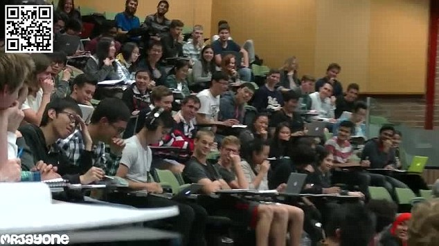 Hilarious footage has emerged of the awkward moment a student is caught watching porn during a lecture