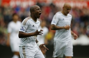 Ghana playmaker Andre Ayew showed his versatility and persistence in Swansea City's final preparatory match ahead of the start of the English Premier League on Saturday.