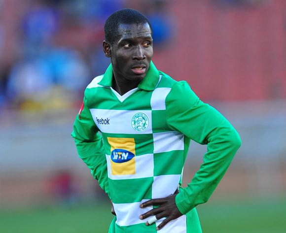 John Arwuah of Bloemfontein Celtic looks on as referee Victor Gomes awards Leopards a penalty during the match between Black Leopards and Bloemfontein Celtic in the Absa Premiership 2012/13 on the 11th August 2012 at Peter Mokaba Stadium ?Chris Ricco/BackpagePix