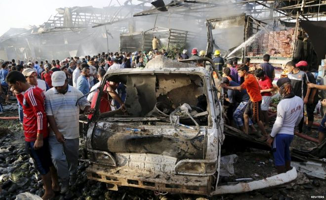 The explosion targeted one of the busiest markets in Baghdad