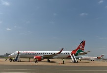 Photo taken on Aug. 28th, 2015 shows two flights landed at Kisumu International Airport in Kisumu, western Kenya, on Aug. 28th, 2015. The economy of Kenya's western region has experienced a dramatic revival following the modernization of Kisumu International Airport by a Chinese company. Located on the edge of Kenya's third largest city, the upgraded Kisumu International Airport is now a busy transport hub connecting the country to the wider eastern African region.(Xinhua/Sun Ruibo)