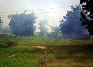 Photo taken on Sept. 15, 2015 shows Boko Haram militant camps set ablaze by Nigerian troops, in Borno State, Nigeria. According to Nigeria's Army Spokesman Colonel Sani Kukasheka Usman, the rescued women and children were freed from Boko Haram's bondage during an operation on Tuesday morning. (Xinhua/Dare Sholarin)