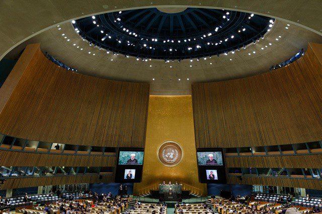 Iran's President Hassan Rouhani speaks at the Sustainable Development Summit at United Nations headquarters in New York, the United States, Sept. 26, 2015. (Xinhua/Li Muzi) (lrz)