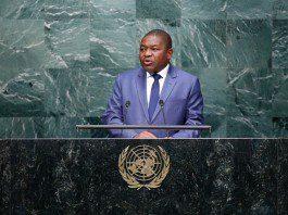 Mozambique's President Filipe Jacinto Nyusi speaks at the Sustainable Development Summit at United Nations headquarters in New York, the United States, Sept. 26, 2015. (Xinhua/Li Muzi) (lrz)