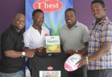 From left, Mr. Ronnie Amartefio, and Mr. Aniagyei Kwame from T' Best Juice presenting the items to Marshall Nortey, Vice President of GRUPA and Mr. Michael Ako Wilson, President of GRUPA
